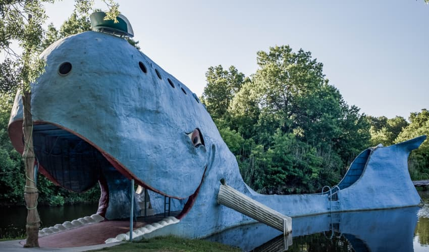 The Catoosa Blue Whale sculpture sits in a pond along Route 66