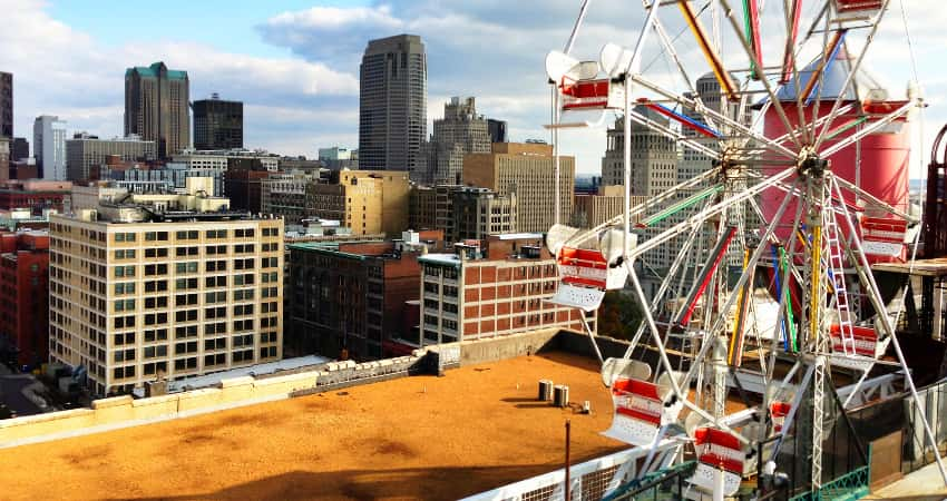 The ferris wheel on top of City Museum in St. Louis.