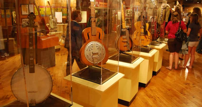 An instrument exhibit at the Delta Blues Museum in Mississippi.