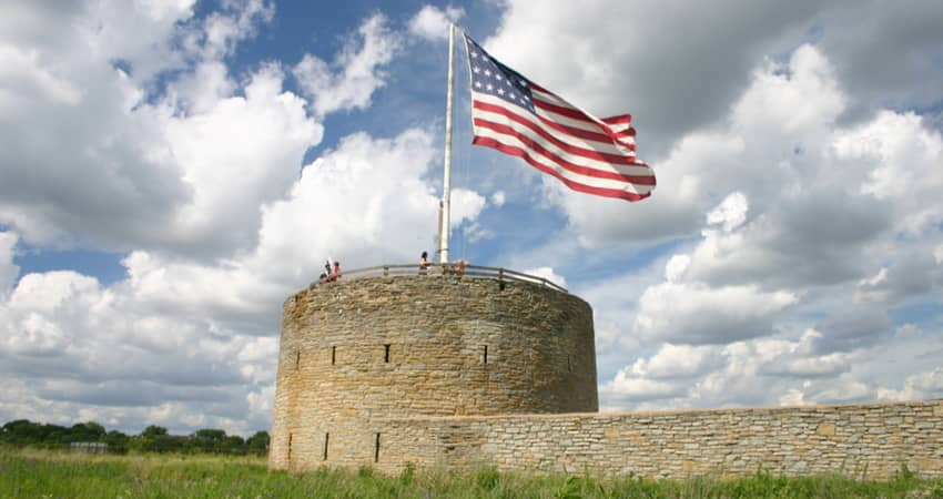 The American flag flown above Historic Fort Snelling