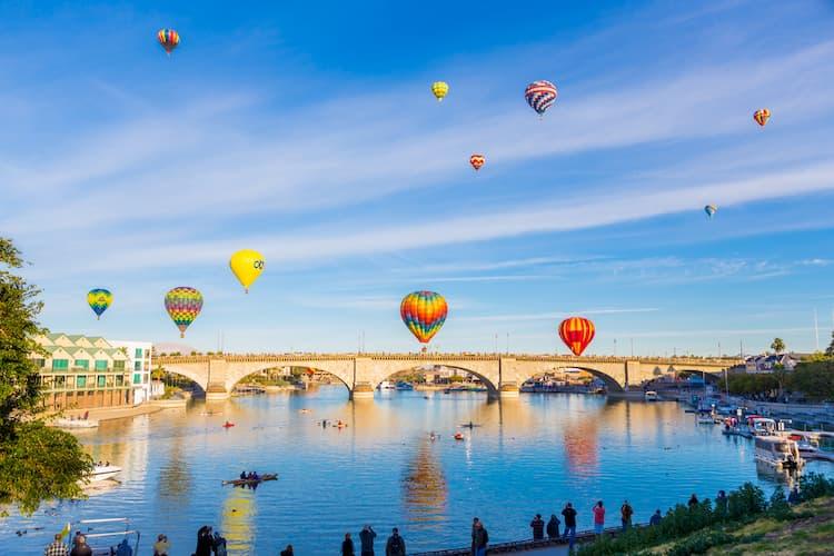 Hot Air Balloons over the London Bridge