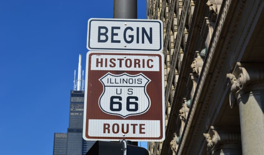 the sign marking the beginning of Route 66 in Chicago