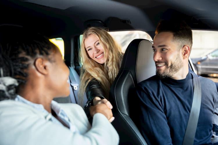 Three people carpooling