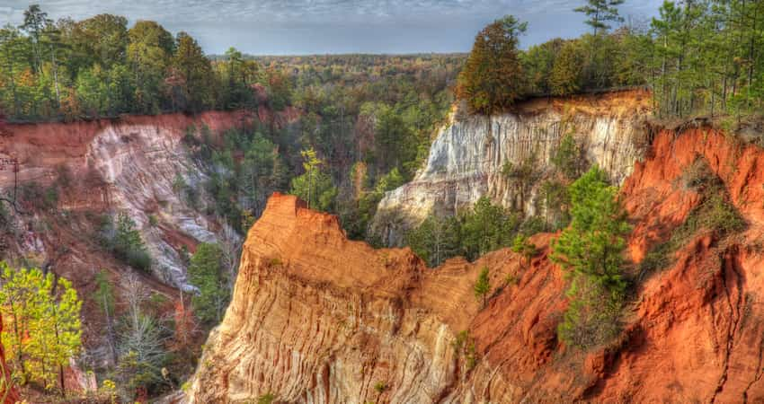 A sweeping view of Providence Canyon State Park in Georgia