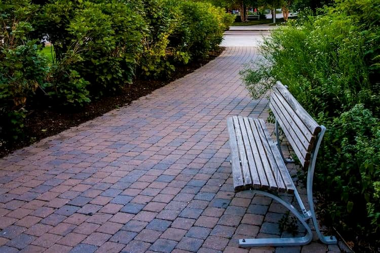 Paved path with bench on Rose Kennedy Greenway