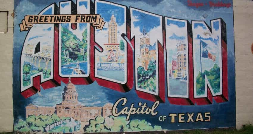 "The ""Greetings from Austin"" mural"