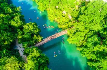 People kayaking on Lady Bird Lake
