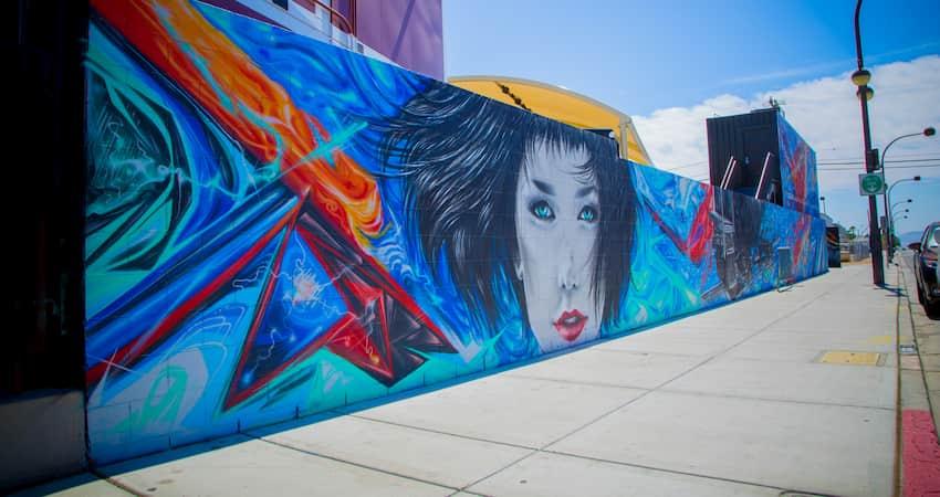 A long wall of bright graffiti art in Las Vegas