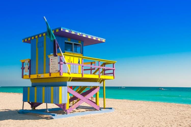 Colorful lifeguard stand on South Beach