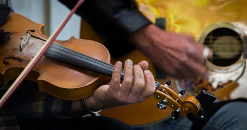 Musicians playing at the Blue Ridge Music Center