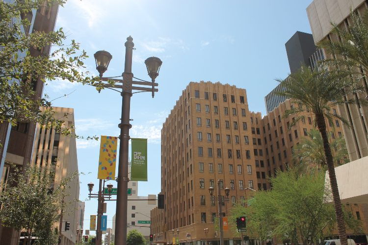 a view of downtown phoenix arizona on a sunny day
