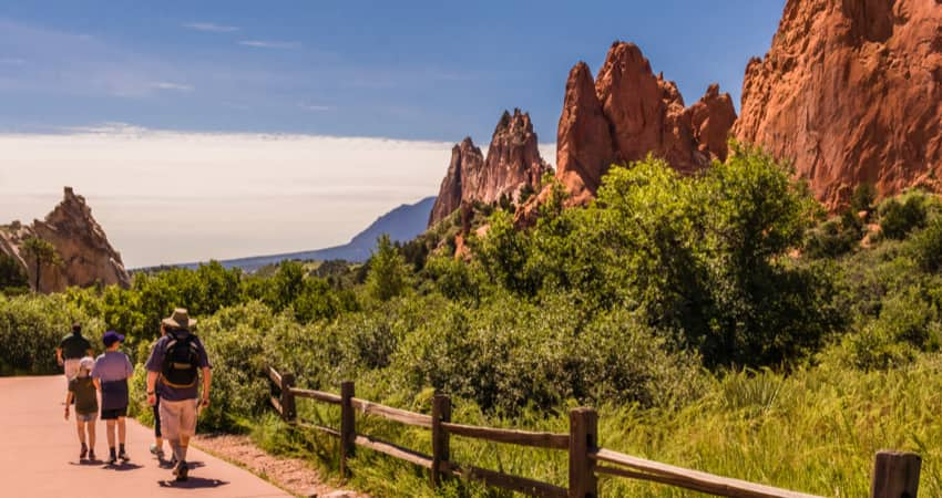 A group of people walking a trail in Garden of the Gods in Colorado Springs