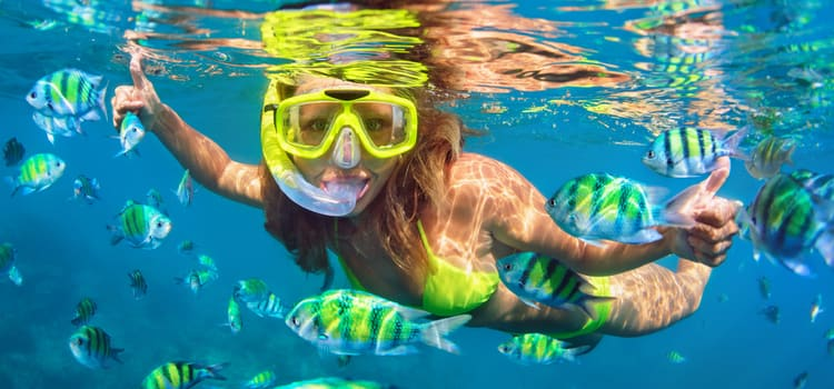 a woman gives a thumbs up while snorkeling with some fish