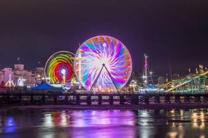 a view of the del mar san diego pier at night