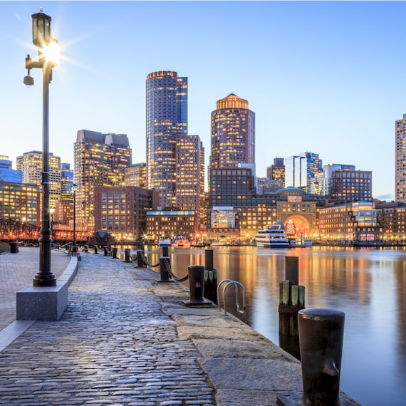 picture of the Boston, MA skyline in the evening