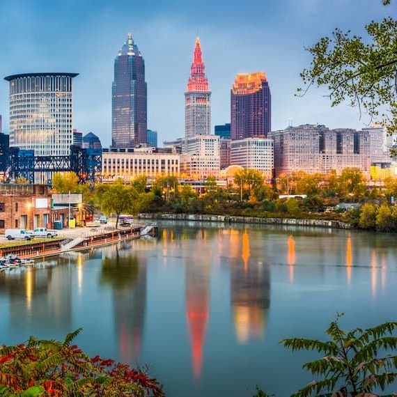 Cleveland skyline with buildings overlooking Lake Erie