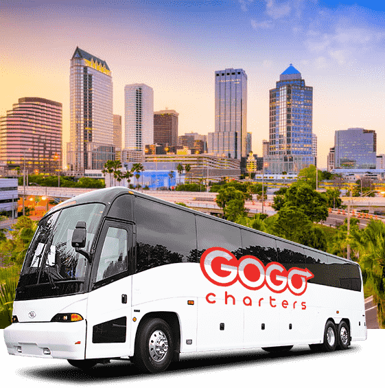 a white charter bus with a gogo charters logo on a picture of the tampa skyline