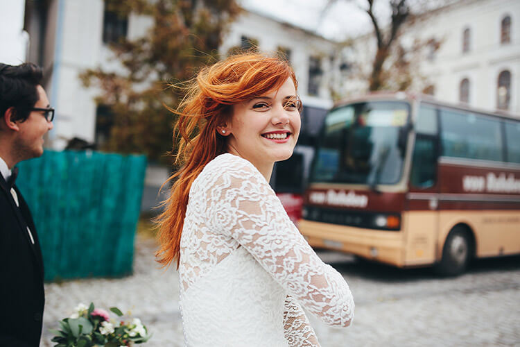 Inside a charter bus for a new york wedding