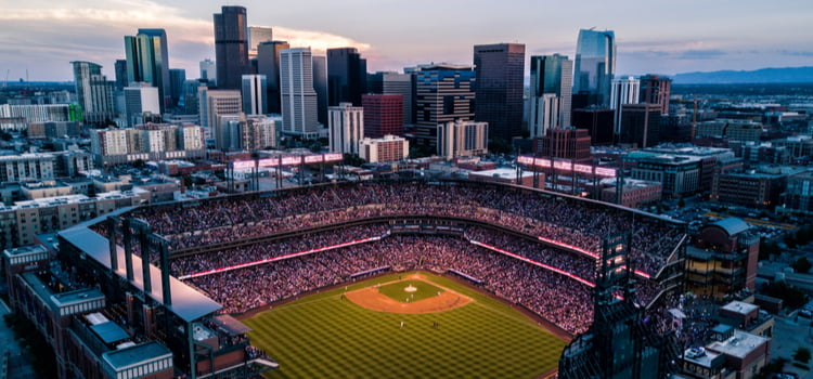 Coors field aerial view with denver cityscape in back