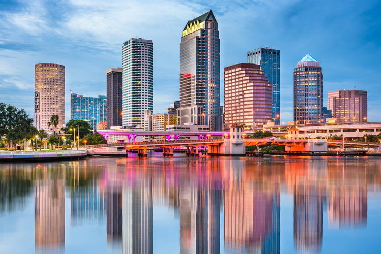 A view of the Tampa, Florida skyline