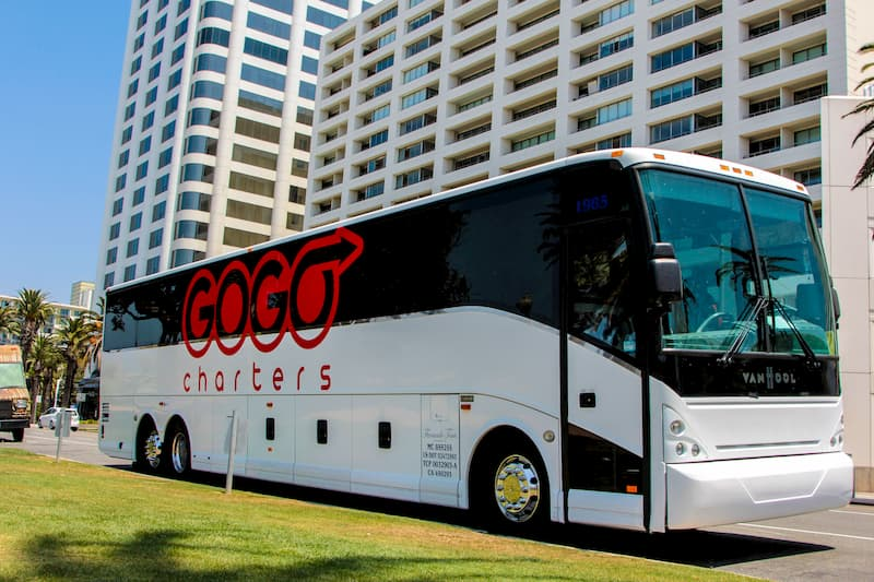 a bus prepares to pick up employees in san antonio