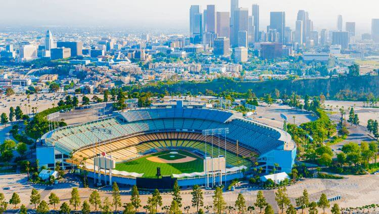 birdseye view of Dogder's Stadium in Los Angeles