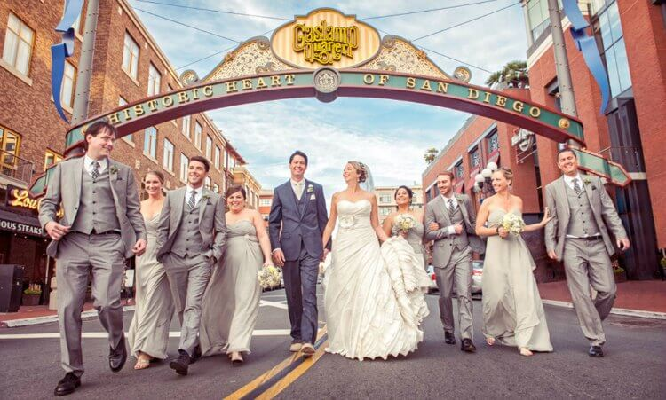 Bride, groom, and wedding party in the Gaslamp Quarter San Diego