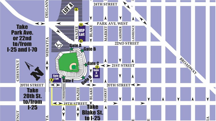 a parking map of Coors Field and the surrounding area