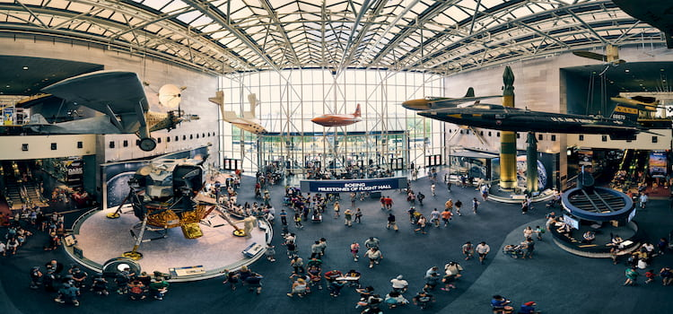 Planes dangling from ceiling of museum