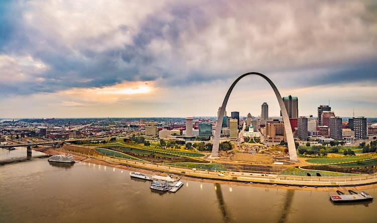 Aerial view of downtown St Louis, Missouri