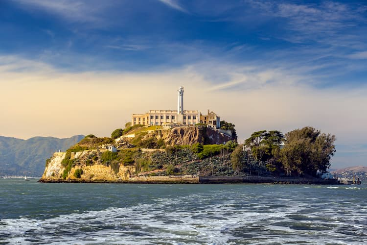 view of alcatraz island from the mainland