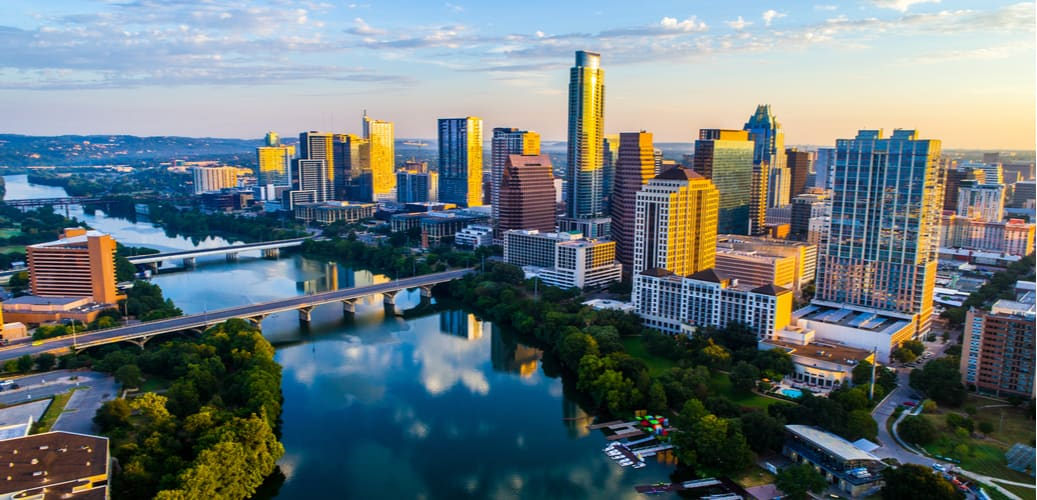 a view of the austin skyline at dusk
