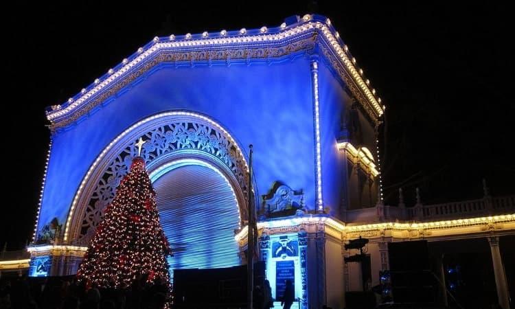 balboa park at christmas time at night