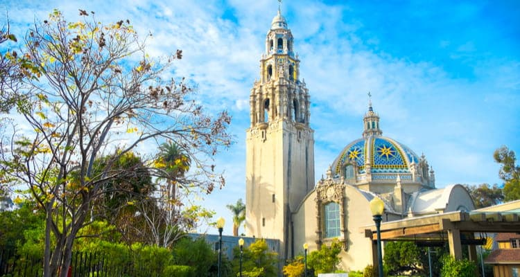 balboa park tower in spring