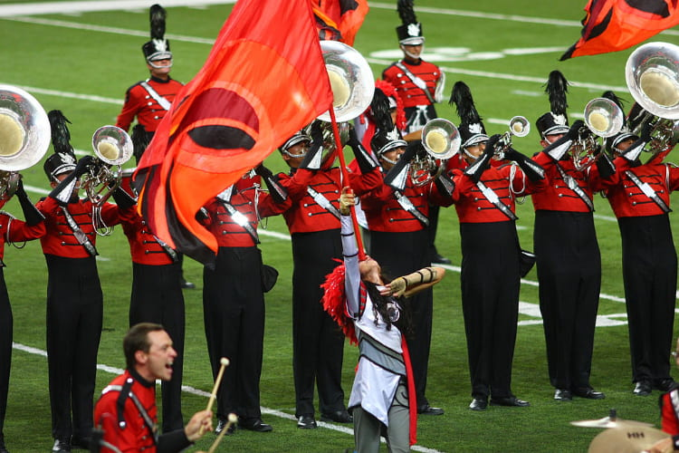 boston crusaders perform at a drum corps international show