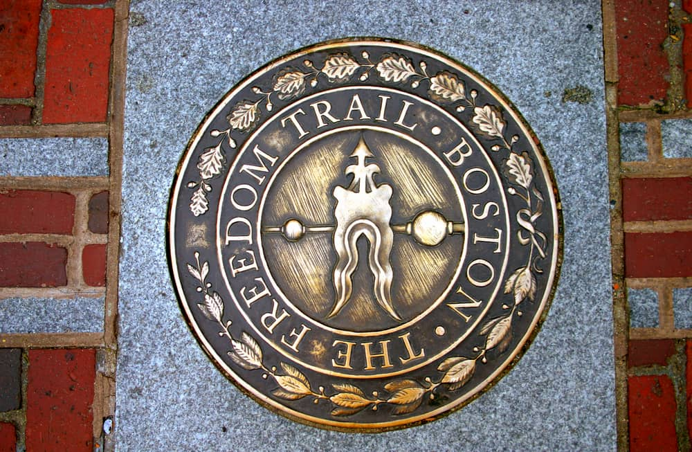 a plaque at boston's freedom trail