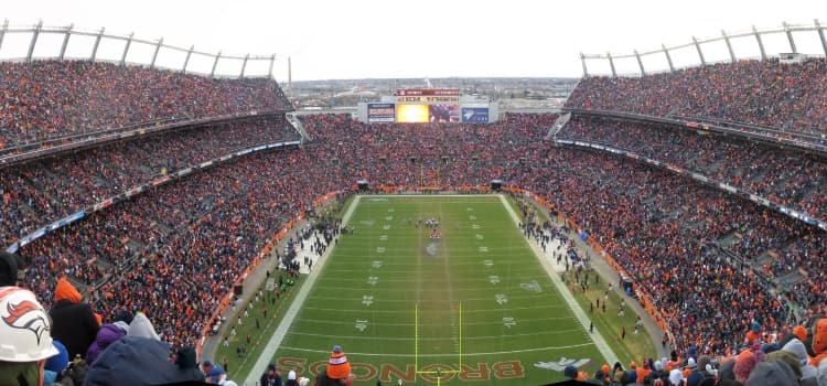 Bronocs Stadium at Mile High inside view of stadium crowded with fans