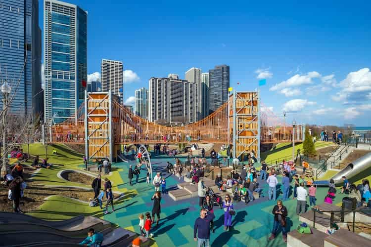 a view of a play area at chicago's millennium park