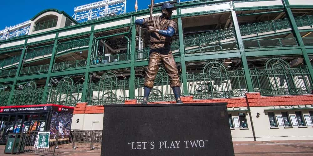 A baseball sculpture outside of Wrigley Field.