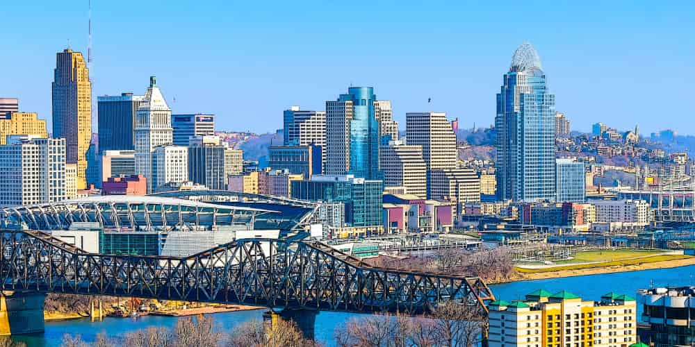 The Cincinnati skyline, viewed from across the river on a sunny day