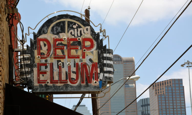 historic sign in Deep Ellum neighborhood of Dallas