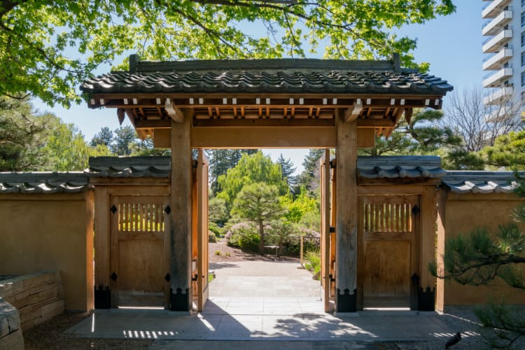 wooden Japanese-style entranceway to the Japanese Gardens in the Denver Botanic Gardens