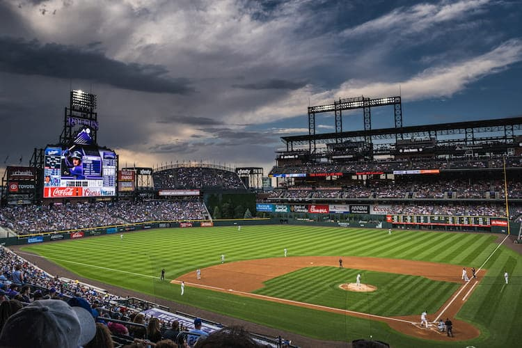 the baseball diamond at coors field before a game
