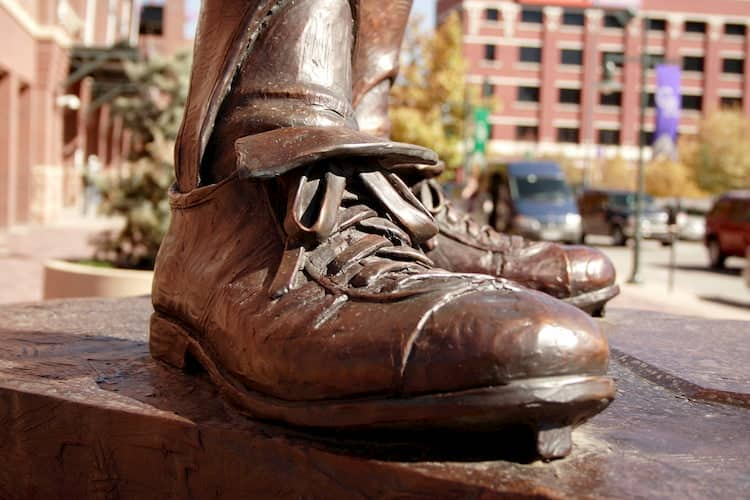 a view of the boot of a statue at coors field