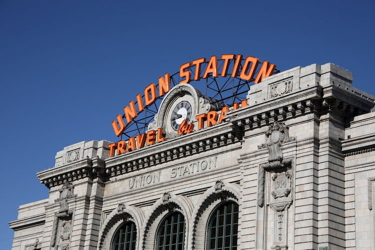 LoDo denver's untion station in the daytime