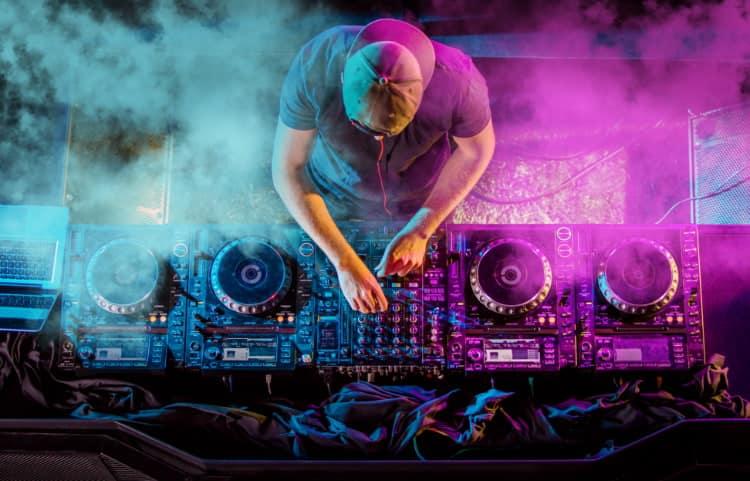 A DJ playing music