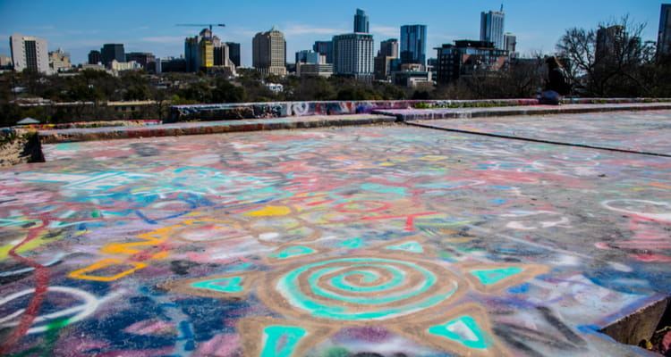 downtown austin rooftop filled with art