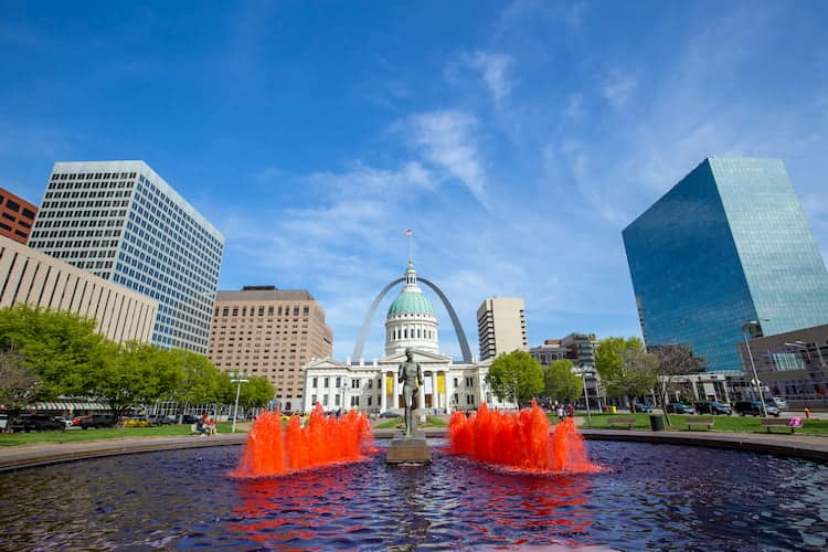 Fountains in downtown St Louis, Missouri