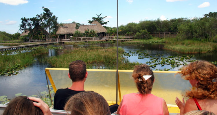 tour group on an airboat ride in Everglades National Park
