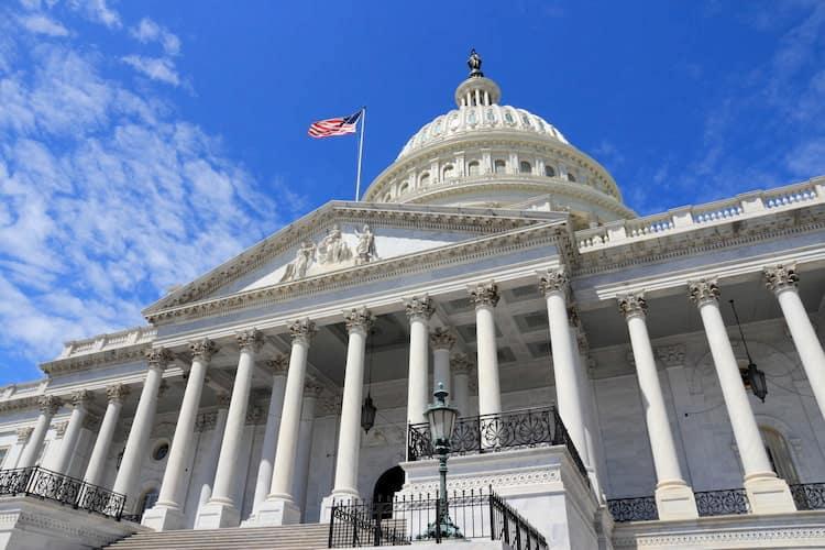 The exterior facade of the US Capitol in Washington DC